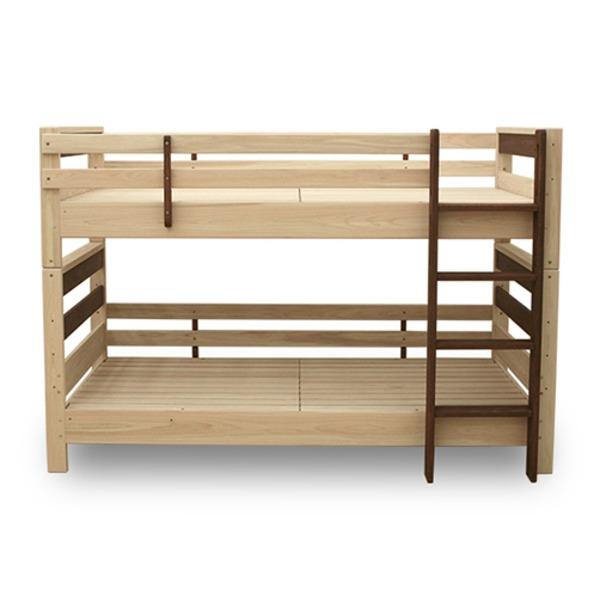 すのこ床板 ヒノキ材 国産2段ベッド シングル使用可(フレームのみ)『KOTOKA』日本製 ベッドフレーム画像01