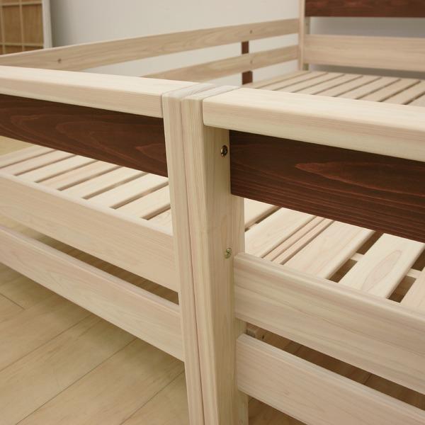 すのこ床板 ヒノキ材 国産2段ベッド シングル使用可(フレームのみ)『KOTOKA』日本製 ベッドフレーム画像05