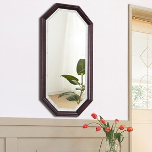 八角型 ウォールミラー/壁掛け鏡 【幅35cm×奥行2.5cm×高さ70cm】 ダークブラウン 飛散防止加工 - 拡大画像