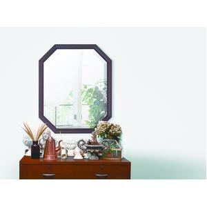 八角型 ウォールミラー/壁掛け鏡 【幅45cm×奥行2.5cm×高さ55cm】 ダークブラウン 飛散防止加工 - 拡大画像