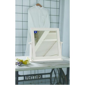 卓上ミラー/卓上鏡 【ホワイト】 幅46cm×奥行11.5cm×高さ41cm 飛散防止加工