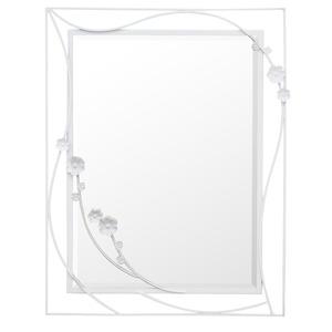エレガント ウォールミラー/壁掛け鏡 【幅50cm×高さ65cm】 ピュアホワイト 飛散防止加工 ブルームC - 拡大画像