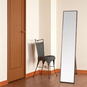 シンプル スタンドミラー/全身姿見鏡 【ダークブラウン】 幅32cm 飛散防止加工 - 拡大画像
