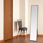 シンプル スタンドミラー/全身姿見鏡 【ダークブラウン】 幅32cm 飛散防止加工