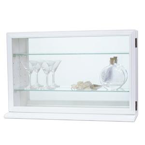モダン コレクションケース/収納棚 【ピュアホワイト 幅56.2cm】 内部背面:ミラー 『カルトーネスカーラYPW』