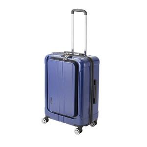 フロントオープン スーツケース/キャリーバッグ 【ブルーヘアライン】 60L Mサイズ 『アクタス ポライト』 - 拡大画像
