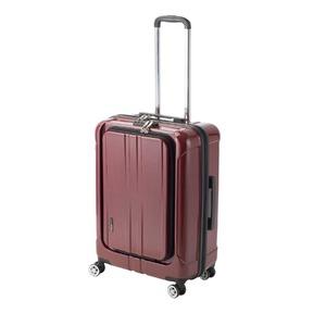 フロントオープン スーツケース/キャリーバッグ 【レッドヘアライン】 60L Mサイズ 『アクタス ポライト』 - 拡大画像