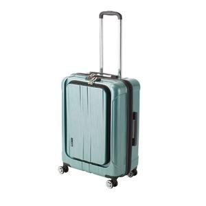 フロントオープン スーツケース/キャリーバッグ 【グリーンヘアライン】 60L Mサイズ 『アクタス ポライト』 - 拡大画像