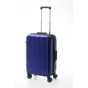 ツートンカラー スーツケース/キャリーバッグ 【Mサイズ ブルー/ブラック】 52L 『アクタス』 - 拡大画像