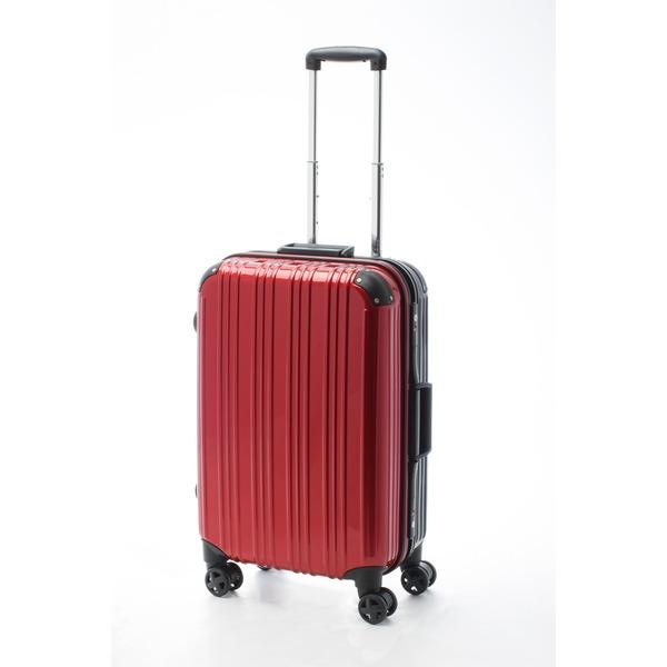 ツートンカラー スーツケース/キャリーバッグ 【Mサイズ レッド/ブラック】 52L 『アクタス』