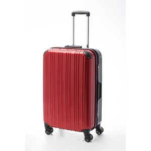 ツートンカラー スーツケース/キャリーバッグ 【Lサイズ レッド/ブラック】 72L 『アクタス』 - 拡大画像