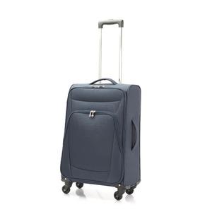 超軽量 ソフトキャリー/スーツケース 【Mサイズ ネイビー】 41L ファスナーポケット付 『アンドレリュックス』 - 拡大画像