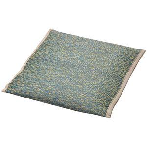い草 小座布団/クッション 【約幅44×奥行44cm ブルー】 表面:イ草100% 消臭機能 調湿機能 『シャイン』 〔リビング〕 - 拡大画像