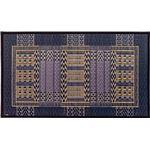 国産い草玄関マット(裏貼り) オリエンタル 約60×90cm ブルー