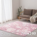 ローズ柄のふっくらラグ フルレット 約200×240cm ピンク