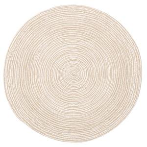 インド綿 ラグマット/絨毯 【ベージュ×ホワイト 直径約180cm 円形】 綿100% ホットカーペット 床暖房可 ブレイド 〔リビング〕