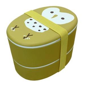 【2個セット】 アニマル柄 ランチボックス/お弁当箱 【フクロウ】 入れ子式 『puloose』 - 拡大画像
