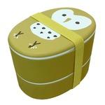 【2個セット】 アニマル柄 ランチボックス/お弁当箱 【フクロウ】 入れ子式 『puloose』