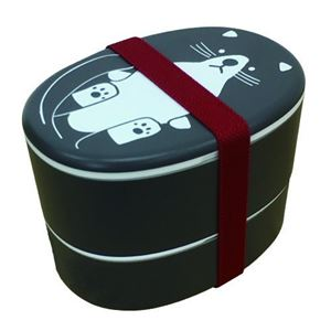 【2個セット】 アニマル柄 ランチボックス/お弁当箱 【ネコ】 入れ子式 『puloose』 - 拡大画像