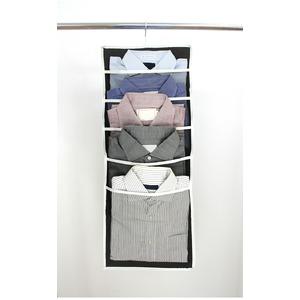 【5個セット】 クローゼット収納 シャツホルダー/Yシャツ収納ラック 【ブラウン】 5日分収納可 ネクタイホルダー付き 『プラスワン』