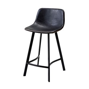 モダン カウンターチェア/ハイチェア 【ブラウン】 座面高さ:60cm 固定型 張地:合成皮革/合皮 スチールフレーム