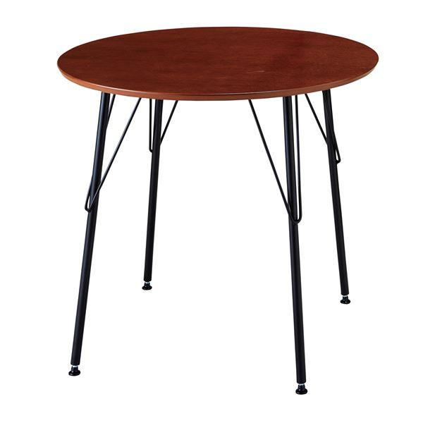 キズが付きにくいおしゃれな「シンプル ダイニングテーブル/丸テーブル 【ブラウン】 幅80cm 天板:PU塗装 スチールフレーム 木目調」