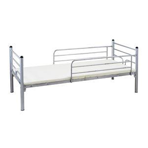 スタッキングベッド/二段ベッド 【シルバー】 上段・下段分割式 スチールフレーム