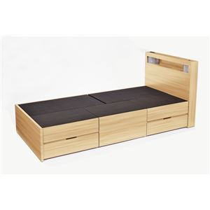 高梨産業 木製ベッド(引出し5個付) ナチュラル SLB-03