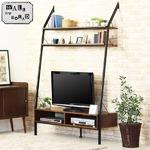 壁掛けテレビ台/テレビボード 【幅124cm】 40型対応 自立式 スチールフレーム 壁面収納棚