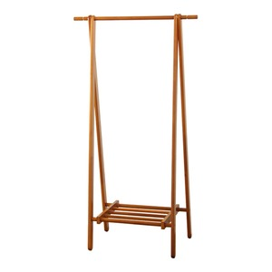 コンパクト 木製ハンガーラック/コートハンガー 【ブラウン】 幅80cm×奥行45cm 折りたたみ式 収納棚付き