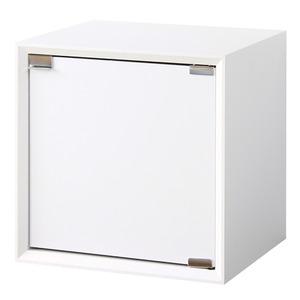 シンプル 収納ボックス/リビング収納棚 【木扉タイプ/ホワイト】 幅36cm×奥行30cm 『キューブボックス』 【完成品】