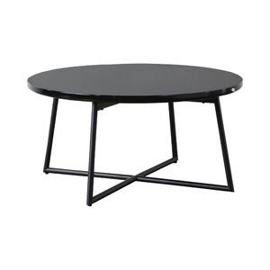 鏡面ローテーブル/センターテーブル 【円形 ブラック】 直径70cm アジャスター付き 【完成品】 - 拡大画像