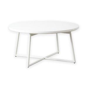 鏡面ローテーブル/センターテーブル 【円形 ホワイト】 直径70cm アジャスター付き 【完成品】 - 拡大画像