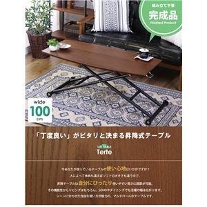 ガス圧式昇降テーブル/リフティングテーブル 【ブラウン】 幅100cm 無段階調節可 車輪付き - 拡大画像