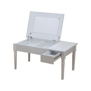 コスメ ローテーブル/ドレッサー 【幅80cm】 ホワイト ミラー・引き出し収納・小物収納付き - 拡大画像