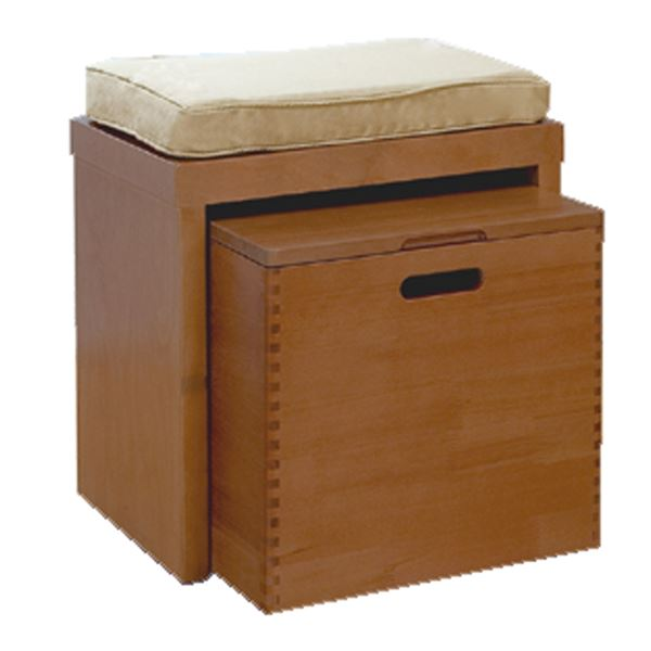 クッションと収納ボックス付きの「天然木ベンチチェスト(クッション付)40cm幅 ブラウン」