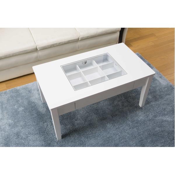 鏡面仕上げのコレクションテーブル ホワイト