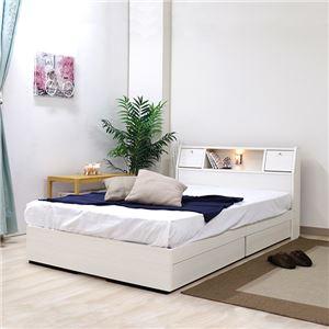 ベッド 日本製 クラシックホワイト ダブル マットレスセット ポケットコイル 収納付き 引き出し付き 棚付き コンセント付き 照明付き フラップ テーブル付き ダブルベッド - 拡大画像