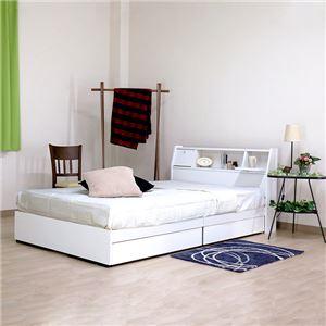 ベッド 日本製 ホワイト セミダブル マットレスセット ポケットコイル 収納付き 引き出し付き 棚付き コンセント付き 照明付き フラップ テーブル付き セミダブルベッド - 拡大画像