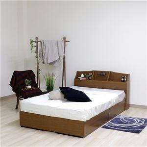 ベッド 日本製 ブラウン ダブル マットレスセット ボンネルコイル 収納付き 引き出し付き 棚付き 宮付き コンセント付き 照明付き ダブルベッド - 拡大画像