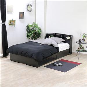 ベッド 日本製 ブラック シングル マットレスセット ボンネルコイル 収納付き 引き出し付き 棚付き 宮付き コンセント付き 照明付き シングルベッド - 拡大画像