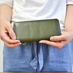 Riton3辺ファスナーレザー財布/オリーブ(日本製)