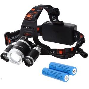 Tomo Light(トモライト) LEDヘッドライト ジョギング ウォーキング 自転車 釣り 三眼ライト PSE認証 18650型リチウムイオンバッテリー 2本付属【2個セット】 - 拡大画像