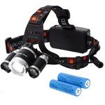 Tomo Light(トモライト) LEDヘッドライト ジョギング ウォーキング 自転車 釣り 三眼ライト PSE認証 18650型リチウムイオンバッテリー 2本付属【3個セット】
