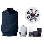 鳳皇 V9399 フルハーネス対応ベスト ネイビー サイズL ファンホワイト バッテリーセット(服V9399 +ファンV9102W + V9101バッテリーセット)