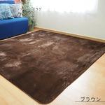 ラビットファー風 ラグマット/絨毯 【約2畳 約185cm×185cm ブラウン】 洗える ホットカーペット 床暖房対応 『リュクシュ』