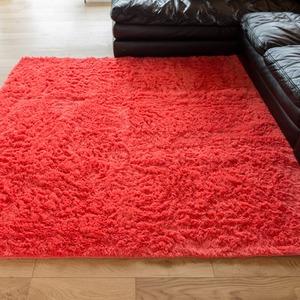 ロングパイル ラグマット/絨毯 【ピンク 約3畳 約185cm×230cm】 洗える ホットカーペット 床暖房対応 『シュプレ』