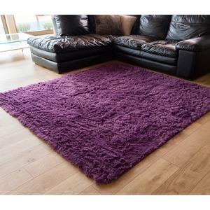 ロングパイル ラグマット/絨毯 【パープル 約3畳 約185cm×230cm】 洗える ホットカーペット 床暖房対応 『シュプレ』