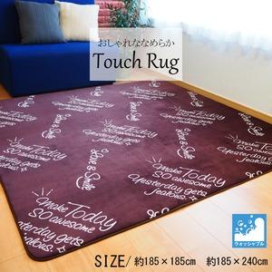 おしゃれななめらか ラグマット/絨毯 【ブラウン 約2畳 約185cm×185cm】 洗える ホットカーペット 床暖房対応 『TouchRug』 - 拡大画像