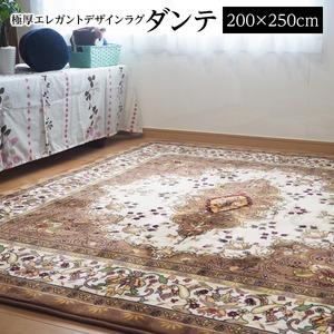 極厚エレガント デザインラグ ラグ マット/絨毯 【 約3畳 約200cm×250cm】  ホットカーペット 床暖房対応 『ダンテ』  - 拡大画像